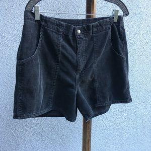 Distressed vintage black corduroy shorts